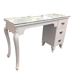"""Manicure Table Glass Top with Renaissance Legs and Drawers WHITE  (47""""x16''x30.5"""