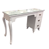 """Additional images for Manicure Table Glass Top with Renaissance Legs and Drawers WHITE  (47""""x16''x30.5"""